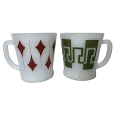 """Two Vintage Fire King """"D"""" Handle Coffee Mugs"""