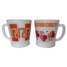 "Vintage Orange Fire King ""D"" Handle Mugs"