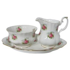 Royal Albert Forget Me Not Rose Creamer, Sugar Bowl and Under Tray