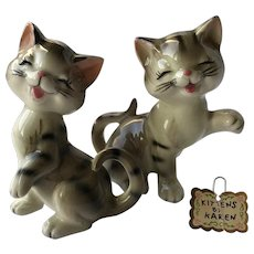 "Vintage Japan ""Kittens by Karen"" Porcelain Figurines ""I'm Giggles"""