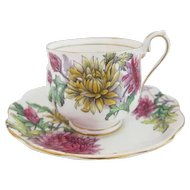 "Early Royal Albert Flower of the Month Series ""CHRYSANTHEMUM"" Cup and Saucer"