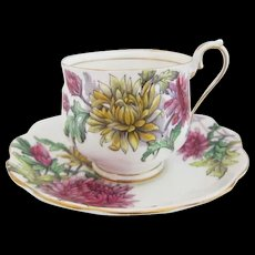 """Early Royal Albert Flower of the Month Series """"CHRYSANTHEMUM"""" Cup and Saucer"""