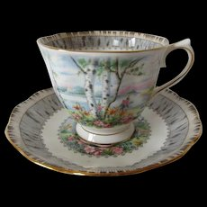 Vintage Royal Albert Silver Birch Patterned Tea Cup and Saucer