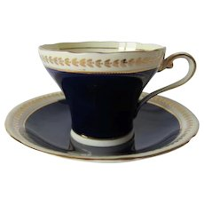 Early Cobalt Blue Aynsley Corset Cup and Saucer