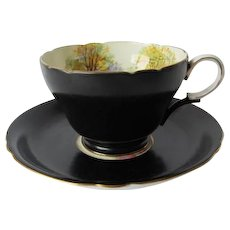 SHELLEY Black Satin teacup and Saucer England's Charm Pattern