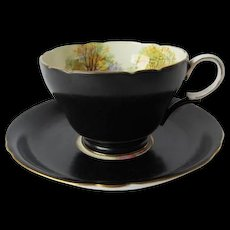 SHELLEY Black Satin Cup and Saucer with England's Charm Pattern