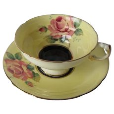 Paragon Large Rose w/ Black Center Yellow Teacup and Saucer