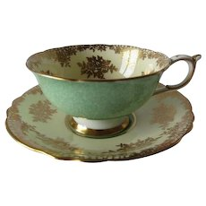 PARAGON Green Mist with Rich Gilt Overlay DW Tea Cup and Saucer