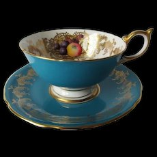 Aynsley Orchard Fruit Teal Blue Cup and Saucer