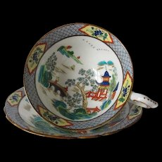 Early Paragon Hand Enameled Tea Cup and Saucer