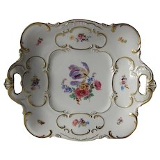 Large Hutschenreuther Gelb Bavaria Pierce Handled Floral Tray