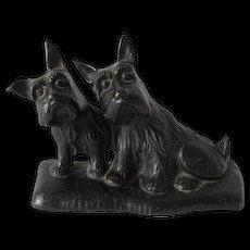 Cast Iron Scottie Dogs Doorstop c.1931