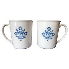Vintage Cornflower Blue Coffee Mugs by Corning