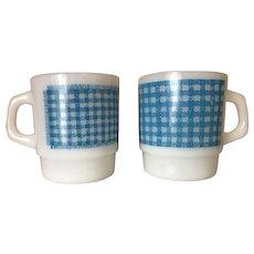 Fire King Blue Gingham Stacking Mugs