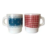 Fire King Red Gingham & Blue Polka Dot Mugs