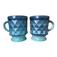 Fire King Blue Kimberly Stacking Mugs