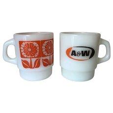 Fire King A&W Advertising Mug, Daisy Stacking Mug