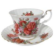 Royal Albert Centennial Rose Patterned Tea Cup and Saucer