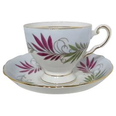 Handpainted Leafy Fern Patterned TUSCAN Tea Cup & Saucer