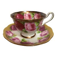 Royal Albert Crown China Cabbage Rose Teacup and Saucer c.1934
