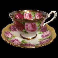 Royal Albert Crown China Cabbage Rose Tea Cup and Saucer c.1934