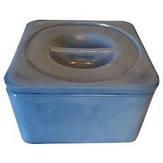 Vintage Jeannette Delphite Blue Square Refrigerator Dish And Lid