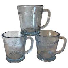 Fire King Sapphire Blue Philbe Mugs X 3