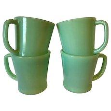 Fire King Jade Jadite Coffee Mugs X 4
