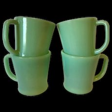 Fire King Jade Jadite Coffee Mugs X 4