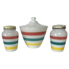 Fire King Stripes Range Set - Colonial Kitchen S & P with Grease Jar