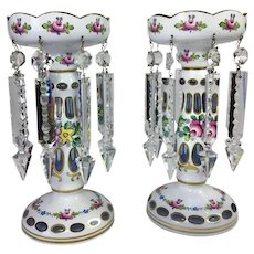 Bohemian Czech Mantle Lusters - White Cased Cut to Blue Crystal