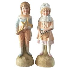 Large Porcelain Set of Bisque Children Figurines