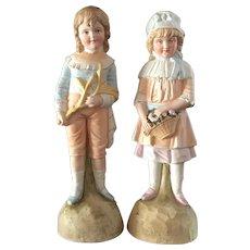 Large Porcelain Set of Bisque Children Figurines