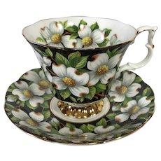 Royal Albert Dogwood Black Chintz Tea Cup and Saucer