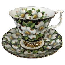 Royal Albert Dogwood Black Chintz Tea Cup and Saucer