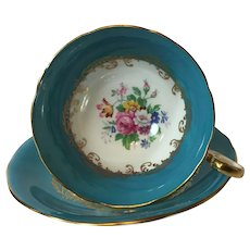 Aynsley Turquoise Banded Tea Cup and Saucer