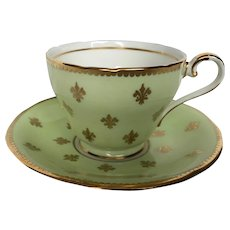 Vintage Aynsley Fleur de lis Tea Cup and Saucer