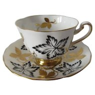 Royal Chelsea Black and Gild Designed Cup and Saucer