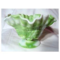 Westmoreland Green Slag Paneled Grape Crimped Candy Bowl
