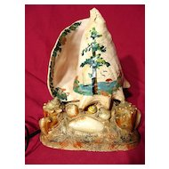 Vintage 1940's Hand Decorated Seashell Lamp
