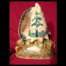 Vintage 1940's Hand Decorated Seashell Lamp