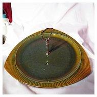Vintage Sunburst Ceramics Medalta Center Handle Tray
