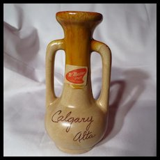 Vintage 1960's McMaster Pottery Souvenir Strap Handled Vase