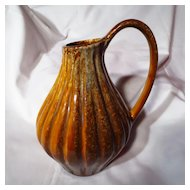 Vintage Medalta Sunburst Ceramics Fat Lava Pitcher Vase