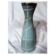 West German Dumler & Breiden Incised Decorated Mottled Blue Vase