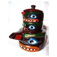 Souvenir Totem Pole Teapot, Creamer & Sugar ~ MIJ