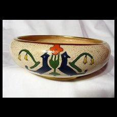 Art Deco Styled Amateur China Painted Low Bowl ~ 1923