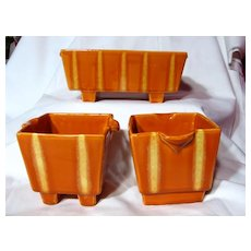Hull Pottery Continental Persimmon Console Set