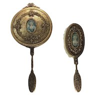 Apollo Studios Gilt Hand Mirror and Brush: Vanity Set with Hand Painted Portraits