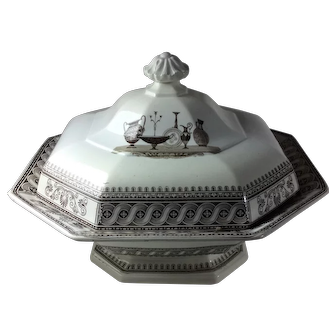 Antique Brown and White Transfer Staffordshire Covered Dish  T & J Mayer: Etruscan Vases Pattern